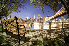 Clear View (Tim Drivas) Tags: nyc newyorkcity longexposure trees night bench waterfront fisheye midtown gothamist rooseveltisland 59thstreetbridge