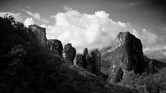 Rock Spires (Matthew Chaplin) Tags: trees blackandwhite clouds landscape rocks meteora greec kalambaka kastraki xe1 meotora