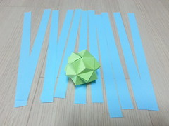 I-coral kusudama (1st step) (hyunrang) Tags: coral origami decoration icosahedron hur paperstrip triambic