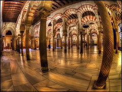 (2178) Mezquita de Crdoba (Fisheye world) (QuimG) Tags: architecture golden andaluca spain arquitectura interiors fisheye panasonic crdoba interiores specialtouch mezquitadecrdoba quimg quimgranell joaquimgranell afcastell obresdart
