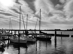 Regatta Point Marina (John Ilko) Tags: seascape monochrome clouds sailboat marina river boats blackwhite fujifilm fl palmetto us41 monochromer regattapointmarina