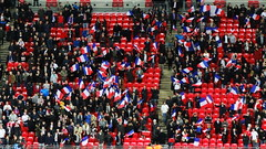 France fans waving French flags at Wembley (Ben Sutherland) Tags: france wembley lamarseillaise englandvfrance liberteegalitefraternite frenchteam frenchfootball frenchfootballteam frenchfootballfederation francefootballteam parisattacks francefootballfederation