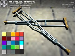 [ht+] underarm crutches (Corvus Szpiegel) Tags: life broken armpit cane hospital foot this pain hurt play arm accident walk leg under injury pit surgery patient sl medical doctor secondlife hate second stick nurse ht knee ankle medic wound fracture rp crutch sprain injured role roleplay limp hobble underarm hatethis