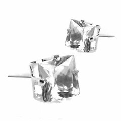 ต่างหูคริสตัล แฟชั่นเกาหลีรูปดาว Silver Square Crystal Earring นำเข้า สีขาว - พร้อมส่ง ราคา120บาท สำหรับเป็นต่างหูผู้หญิงรุ่นใหม่ ดีไซน์อินเทรนด์แบบต่างหูแป้นก้านเงิน 925 ขนาดน่ารักสวมใส่ได้ทุกวัย สวยสดใสด้วยต่างหูผู้หญิงแฟชั่นสำหรับใส่เล่นหรือเลือกต่างหู