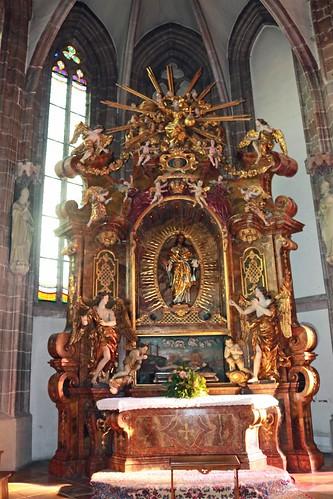 Perchtoldsdorf. Pfarrkirche. Linkes Seitenschiff. Barocker Herz-Jesu-Altar, 1736