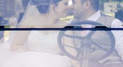 Carmen & Hugo Gutierrez (Philip Kisia) Tags: wedding friends summer color colour love smile car smiling museum laughing vintage groom bride pacific northwest farm marriage screen best lovers mexican laugh hispanic windshield newberg pelz champoeg pelzphotography