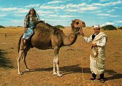 Libyan Man & Woman (~ Lone Wadi ~) Tags: libya libyan camel northafrica arabic saharadesert postcard souvenir retro 1960s