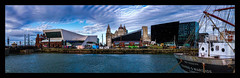 Museum of Liverpool (Kevin, from Manchester) Tags: albertdock architecture building canon1100d canon1855mm clouds cunardbuilding echoarena england gradeilistedbuilding hdr historical kevinwalker liverbirds liverbuilding liverpoolsthreegraces merseyside northwest outdoor panorama panoramic pierhead portofliverpoolbuilding rivermersey royalliverbuilding thewheel wallart waterfront waterways