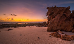 Late in the Day - Quandong Point (--Welby--) Tags: rock sunset light colour colors yellow purple ocean coast sea broome landscape fuji xt10 samyang 10mm hermit crab last