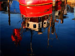 Reflections in the port of Niendorf on the Baltic Sea