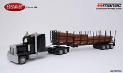 02_Peterbilt_389_classic_with_Manac_forestry_trailer (LegoMathijs) Tags: lego moc legomathijs forestry peterbilt 389 classic minifig scale manac customized trailer wood logging truck wheels amerika canada black logs rigid hose