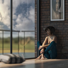 Solitude (Mark Frost :)) Tags: sky woman sun sunlight window girl wall lady clouds studio 3d cg sitting floor render room sit cushion cgi daz modernliving
