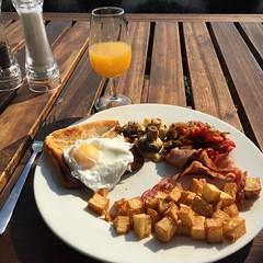 Saturday morning breakfast (Vaughanoblapski!) Tags: orange breakfast square bacon juice toast egg potato fries squareformat poached iphoneography instagramapp uploaded:by=instagram