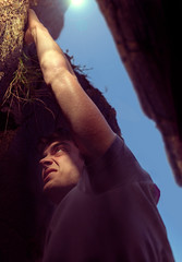 Theo (Adam Rummer) Tags: cliff man photoshop grit climb emotion anger ridge climbing theo