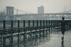 Female Jogging Near Brooklyn Bridge (Image Catalog) Tags: city bridge urban woman reflection wet girl female fence bench exercise crane running sneakers health brooklynbridge ponytail jogging fitness runner jogger publicdomain