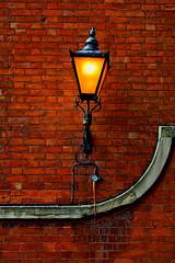 Street Light (PeteZab) Tags: old nottingham uk light england texture lamp wall vintage streetlight enhanced redbrick lacemarket petezab peterzabulis zabzone