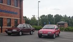 Cavalier, Montego or Sierra. Battle of the repmobiles re-played. (SeanRG) Tags: family red brown classic cars ford car austin magazine nose early photoshoot rover sierra retro 80s 1984 jelly l mk2 cavalier 16 mould eighties 1986 weekly 1985 saloon rosso issue ghia gls vauxhall mkii 1300 montego clove bl facelift jellymould mk1 mki emax