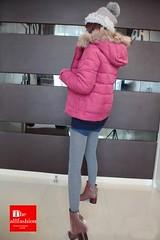 CJ-0011 - เสื้อแจ็คเก็ตขนเป็ดเนื้อผ้านุ่มเบาสบายให้ความอบอุ่นกันหนาวได้ดีพร้อมหมวกฮู้ดขนเฟอร์