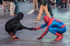 Fist Bump (H. Evan Miller) Tags: travel newyork costume manhattan sony spiderman timessquare superhero spidey alpha nex a6000 hevanmiller ilce6000