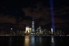 9-11 Tribute In Light 08 (Amaury Laporte) Tags: newyorkcity usa newyork unitedstates 911 landmarks northamerica tributeinlight memorials september11memorial