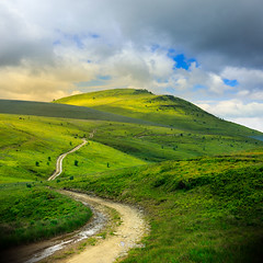 mountain path uphill to the sky (M. Pellinni) Tags: road park travel blue wild summer sky cloud mountain green nature up grass stone rural way landscape concrete high view outdoor path walk empty horizon hill dream direction winding concept uphill success dropbox steep slab ifttt