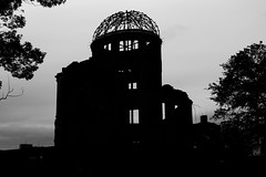Hiroshima Peace Memorial (thejtype) Tags: world blackandwhite bw heritage monochrome silhouette japan site memorial ruins peace wwii nuclear hiroshima weapon dome ww2 bomb remains preservation genbaku