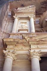 Petra Treasury details (AnniversaryRoad) Tags: leica colour film architecture analog 50mm desert kodak petra treasury middleeast jordan summicron arab column portra m6 leicam6 petratreasury