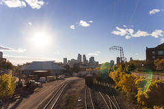 A Throwback Thursday for all us Minnesotans (twinsfan7777) Tags: city skyline campus landscape cityscape minneapolis gophers populated railroadtracks metrodome universityofminnesota urbanarea usbankstadium