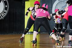 Rainier Roller Girls' Red & Pink & Black Scrimmage (Eric Von Flickr) Tags: seattle girls woman washington women track flat skating wheels roller skater athlete derby skates banked wftda