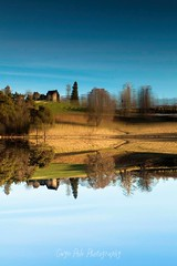 Perception is everything ! (Gwyn Pole Photography) Tags: water lake farmland blue yellow gwynpolephotography trees building farm sky landscape artistic fineart conceptual dreamscape experimental upsidedown topsyturvy colourful color art nature