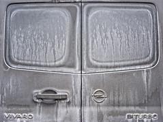 Wash Me (XoMEoX) Tags: dusty dust patina shadesofgrey pfui automobile automobil fahrzeugheck heck dirt dirty schmutz schmutzig dreck dreckig auto car van opel vivaro back door türe türen flügeltüren fenster window windows grey grau verdreckt konturen d5200 nikon kleinbus rückseite salz streusalz salt lines line linien linie pattern