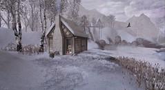 Winter Cottage at Rosemoor (Tripp Nitely) Tags: second life rosemoor landscape winter cottage rustic rugged wonderland