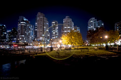 Night walk in Vancouver (SoultrainPhoto) Tags: vancouver canada night lights nightphotography halo water skyline city walkinthepark coalharbour