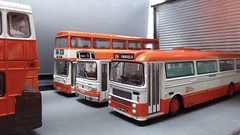 Greater Manchester Transport Bus Garage. (ManOfYorkshire) Tags: leyland national daimler fleetline bristolre gmt greatermanchestertransport manchester bus buses depot garage 391 padfield ex30 orange white scheme gmpte 587 94 efe diecast model models oogauge scale 176