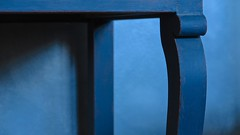 Blue Note (Bobby Mou) Tags: shape color painted table curve naturallight impressionist shadows tableleg blue art abstract