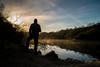 Morning Selfie (richardsolway) Tags: water mist light sun dawn quarry lake steam cornwall austell
