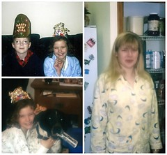 Comfy Cozy New Year's Eve (genesee_metcalfs) Tags: collage december newyearseve family fun celebration hat tiara son daughter mom pets dog germanshorthairedpointer