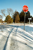 STOP (Georgie_grrl) Tags: christmascottagechoir choir friends friendship social music princeedwardcounty lakeontario winter pentaxk1000 rikenon12828mm snow stop sign road intersection tracks shadows patterns