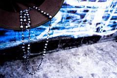 Pescador de ilusões (pedrinholula) Tags: terço oração chapéu retrato portrait church saint prayer blue cap igreja god pray jewelry bluefilter