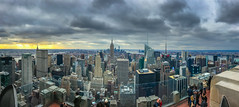 Panorama view of Manhattan from Top of the Rock - Rockefeller Center New York City NY (mbell1975) Tags: newyork unitedstates us panorama view manhattan from top rock rockefeller center new york city ny nyc usa america american topoftherock office buildings skyscrapers skyscraper building empire state morning am vista pano panoramic