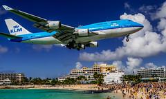 klm boeing 747-400 (mrsyclone) Tags: klm boeing 747400 sxm maho beach landing aviation big wow 747 pilot lovly