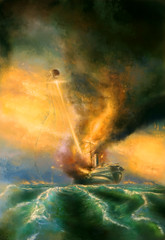 War of the Worlds, Thunder Child V. Martians (Ekaterinya Vladinakova) Tags: painting art fantasy bookcover bookcoverart paintings artwork ocean seascape ship fire waroftheworlds thunder thunderchild