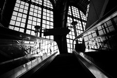 Shadow and light @ Antwerpen Central Station (PaulHoo) Tags: antwerpen central station belgium 2017 fujifilm x70 lines pattern light shadow stairs architecture building interior bw monochrome blackandwhite