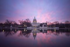 Valentine's Day Sunrise (A B Pan) Tags: uscapitol washingtondc reflection reflectingpool pink nationalmall architecture earlymorning sunrise valentinesday