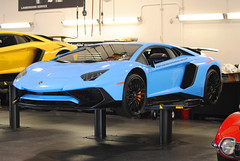 Jacked-Up SV (Infinity & Beyond Photography) Tags: jackedup sv lamborghini aventador exotic sports car supercar blue garage jacks florida exotics cars supercars