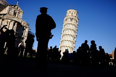 The policeman (marcellopantaloni) Tags: leaningtower people police policeman streetphotography street italy pisa tower siluette