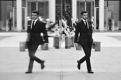 Day 73. Sharp suit. (Rob Emes) Tags: g7xii canon street bw black mono urban reflecting reflection london city suit man 365 mar2017