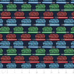 """(Camelot Cottons) Star Wars III, Logos And Lightsabers In Multi • <a style=""""font-size:0.8em;"""" href=""""http://www.flickr.com/photos/132535894@N06/20584875222/"""" target=""""_blank"""">View on Flickr</a>"""