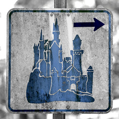 road sign to disneyland ? (ewaldmario) Tags: blue castle monochrome germany square bayern deutschland bavaria europe blu disney bleu roadsign blau chateau neuschwanstein schloss ludwig castello find burg wegesrand knig schwangau wegweiser colorkey chiemgau kini colourkey monochromefineart ewaldmario partualdesaturation verkehrszeihen