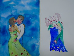 Two of us, by Mriam - DSC00580 (Dona Mincia) Tags: boy two woman man art girl illustration watercolor painting paper kiss couple arte beijo mulher lovers study moa casal homem ilustrao dupla pintura dois aquarela rapaz